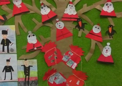Mikołajkowe drzewo z trójkąta i koła Dzień Drzewa Izabela Kowalska Kreatywnie z dzieckiem Mikołajki Nauka kształtów Postacie Święta Zima