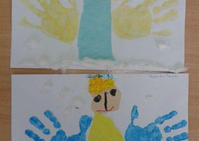 Aniołki z odbitych rączek Dzień Anioła Marlena Wrońska Postacie Prace plastyczne Prace plastyczne (Boże Narodzenie) Święta