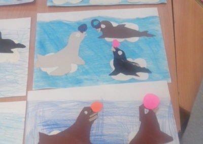 Foki na krze Izabela Kowalska Prace plastyczne Prace plastyczne (Dzień Zwierząt) Światowy Dzień Zwierząt Zima (Prace plastyczne) Zwierzęta