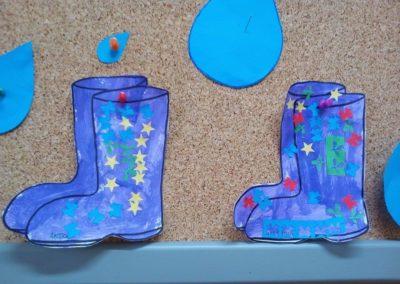 Kalosze farbą malowane Dzień Wody Jesień Kreatywnie z dzieckiem Monika Okoń Wiosna