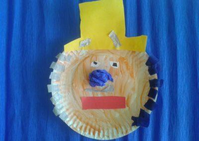 Klaun z papierowego talerzyka Karnawał Marlena Wrońska Postacie Prace plastyczne Prace plastyczne (Karnawał)