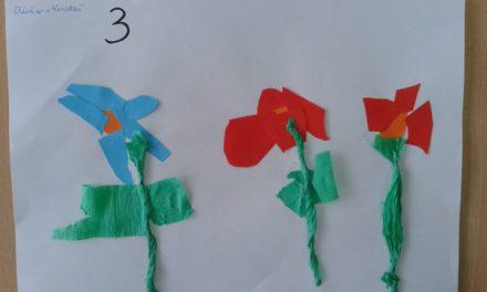 Kwiatki z bibuły – utrwalanie cyfry 3