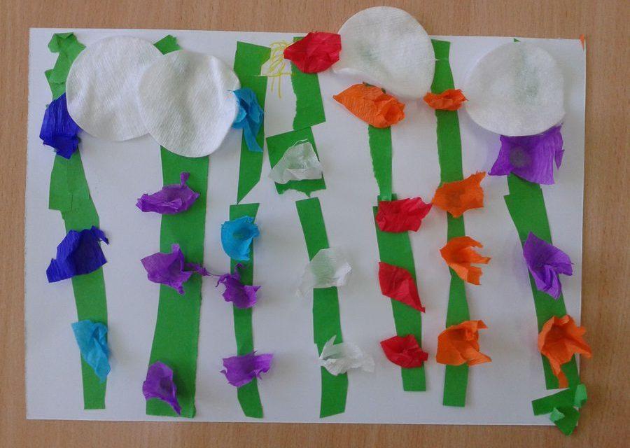 Kwiatki na łące z bibuły