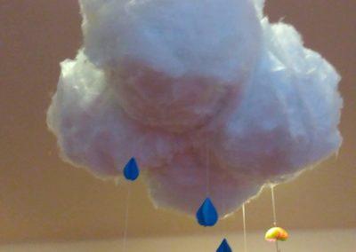 Deszczowe chmury z balonów i gazety Dominika Kobylak Jesień Jesień Kreatywnie z dzieckiem Prace plastyczne Prace plastyczne Wiosna