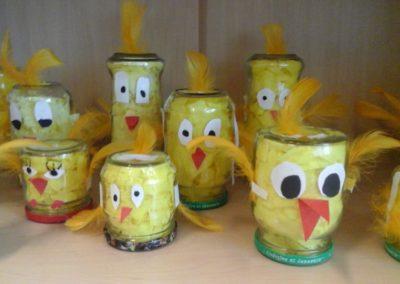 Kurczaki w słoikach Anna Kowalska Kreatywnie z dzieckiem Prace plastyczne Prace plastyczne Światowy Dzień Zwierząt Zwierzęta