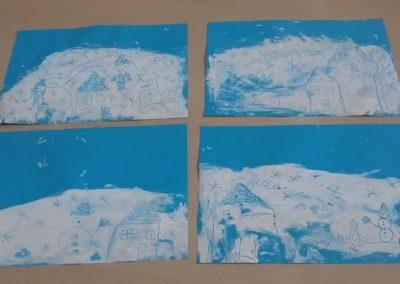 Malowanie na paście do zębów Dzień Koloru Białego Izabela Kowalska Kreatywnie z dzieckiem Zima Zima