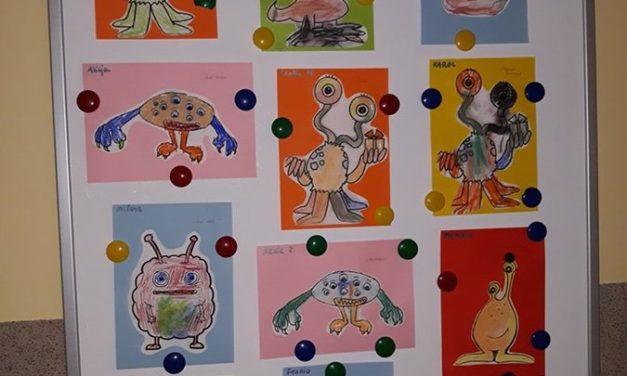 Ufoludek kolorowany suchymi pastelami