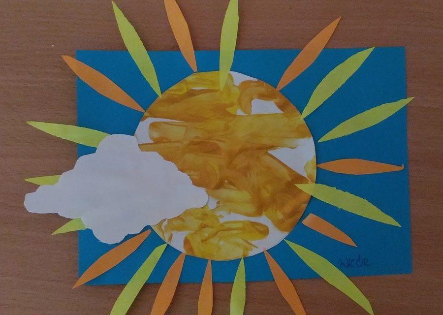 Słońce farbami malowane