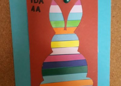 Wielkanocny zajączek w kolorowe paski Alicja Mazur Prace plastyczne Prace plastyczne (Wielkanoc) Wielkanoc Wielkanoc