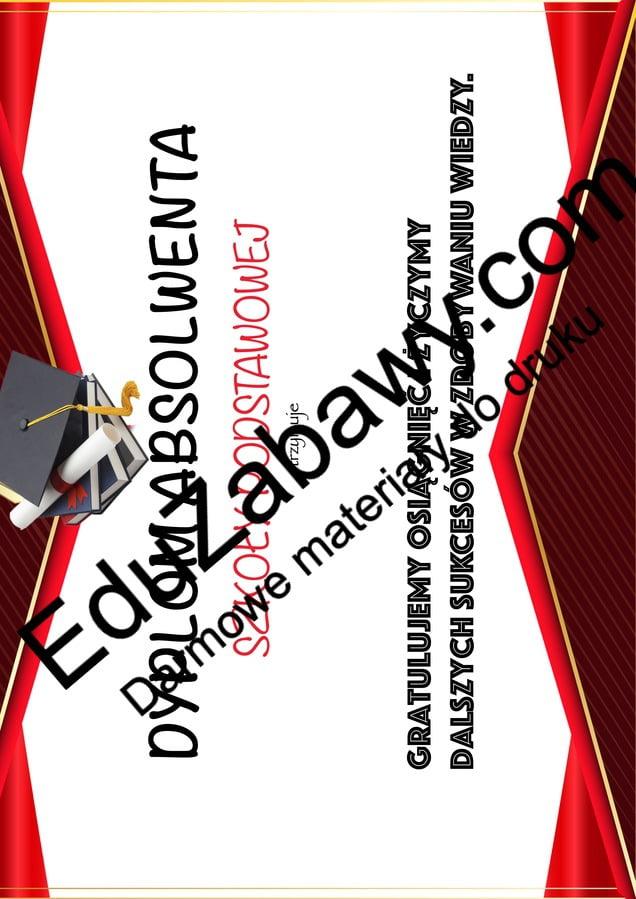 Dyplom dla absolwenta szkoły podstawowej Dyplomy Dyplomy (Zakończenie roku) Okolicznościowe