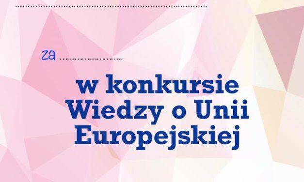 Dyplom za udział w konkursie o Unii Europejskiej