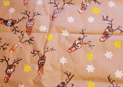 Świąteczny papier prezentowy Boże Narodzenie Dominika Kobylak Prace plastyczne