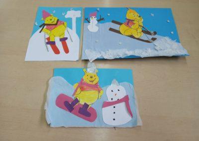 Kubuś Puchatek w zimowej scenerii Izabela Kowalska Prace plastyczne
