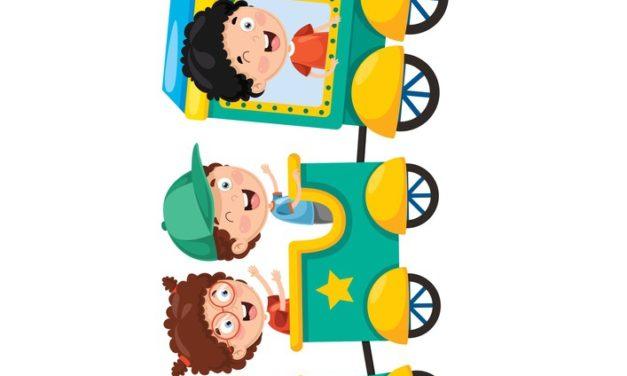 Dekoracje: Pociąg z dziećmi (9 szablonów)