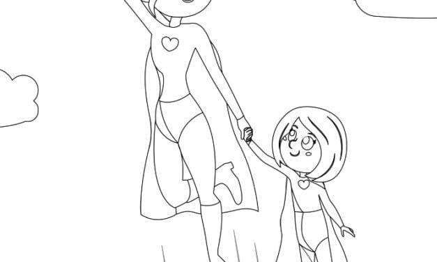 Kolorowanki – Super Mama (7 szablonów)
