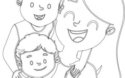 Kolorowanki: Mama z dziećmi (5 szablonów)