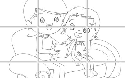 Kolorowanki XXL: Mama z synkiem (6 szablonów)