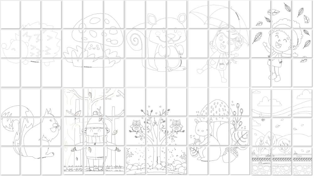 Jesień: Kolorowanki XXL (10 kart pracy) Jesień Kolorowanki Kolorowanki (Jesień) Kolorowanki XXL Rośliny (Kolorowanki)