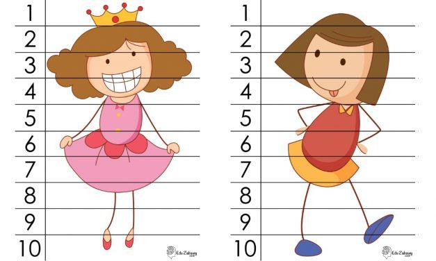 Dzień Dziewczynek: Puzzle 10 elementów (10 kart pracy)