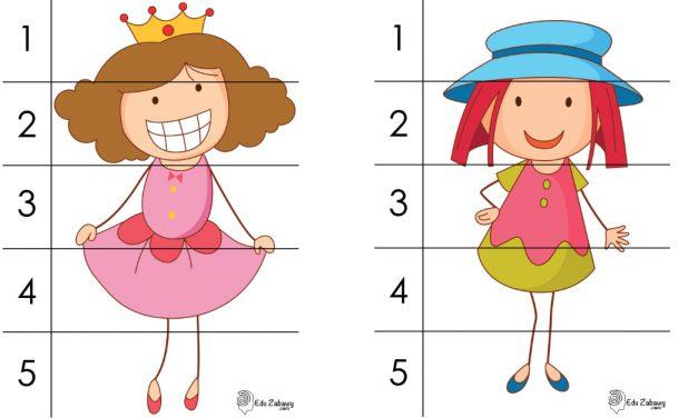 Dzień Dziewczynek: Puzzle 5 elementów (10 kart pracy)