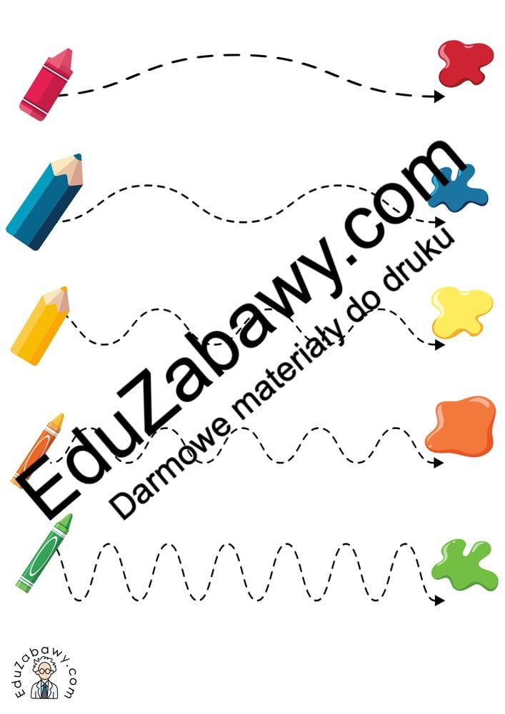 Dzień Kredki: Szlaczki (10 kart pracy) Dzień Kredki Karty pracy Karty pracy (Dzień kredki) Szlaczki