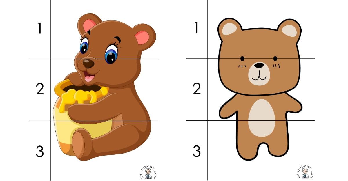 Dzień Misia: Puzzle 3 elementy (10 kart pracy)