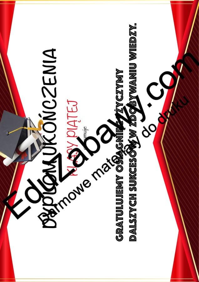 Dyplom ukończenia klasy 5 Dyplomy Dyplomy (Zakończenie roku) Okolicznościowe