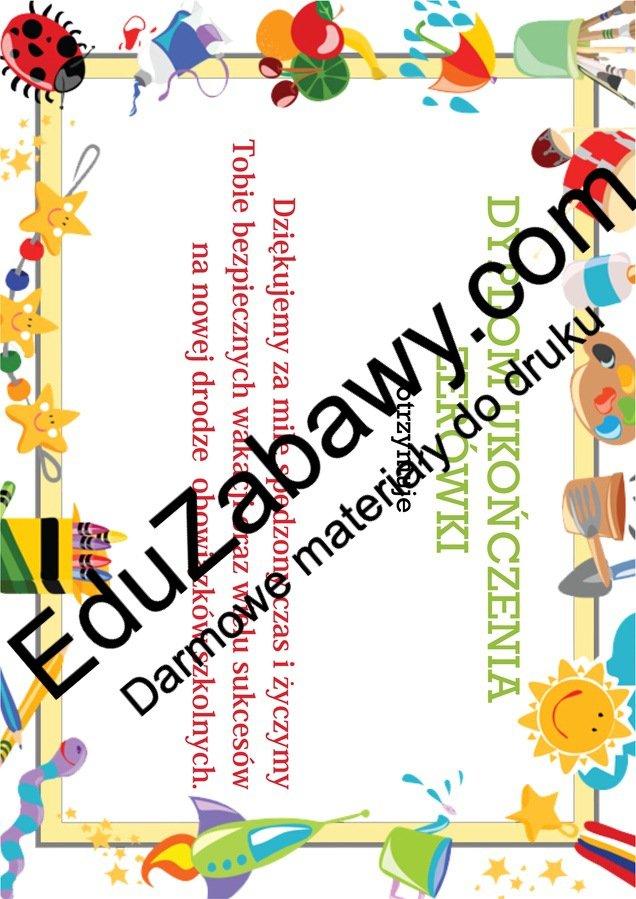 Dyplom ukończenia zerówki Dyplomy Dyplomy (Pożegnanie przedszkola) Dyplomy (Zakończenie roku) Okolicznościowe