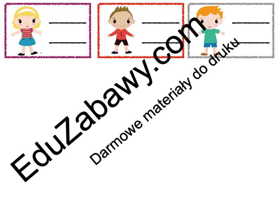 Znaczki przedszkolne - Dzieci Powitanie przedszkola Tematyczne Wrzesień Znaczki na szafki / etykiety