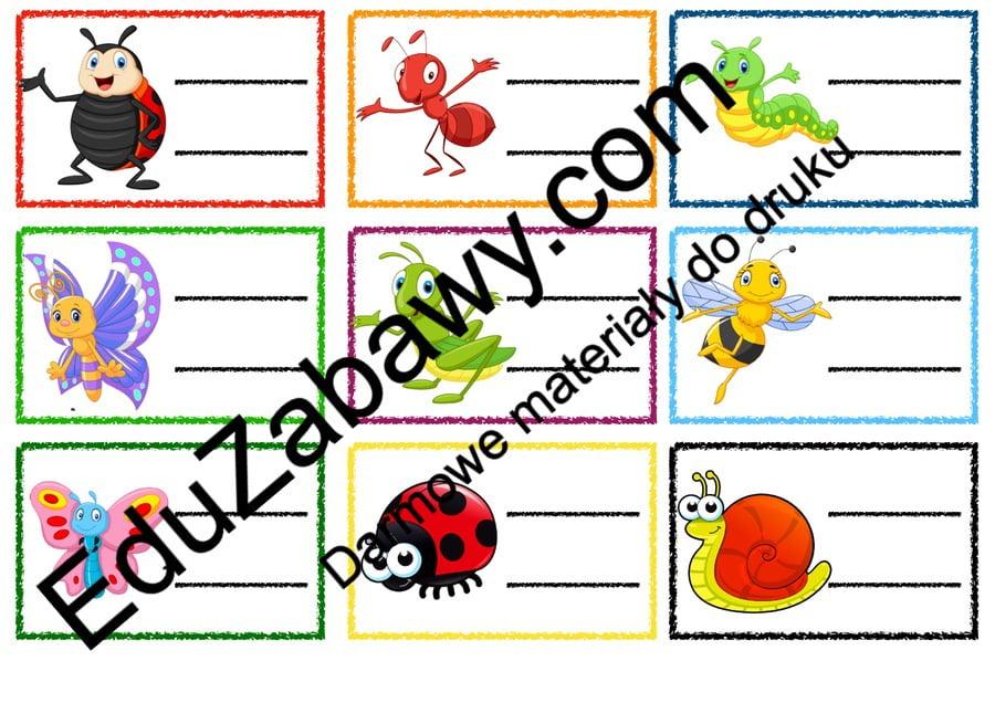 Znaczki przedszkolne - Owady Kalendarz świąt Powitanie przedszkola Wrzesień Znaczki na szafki / etykiety