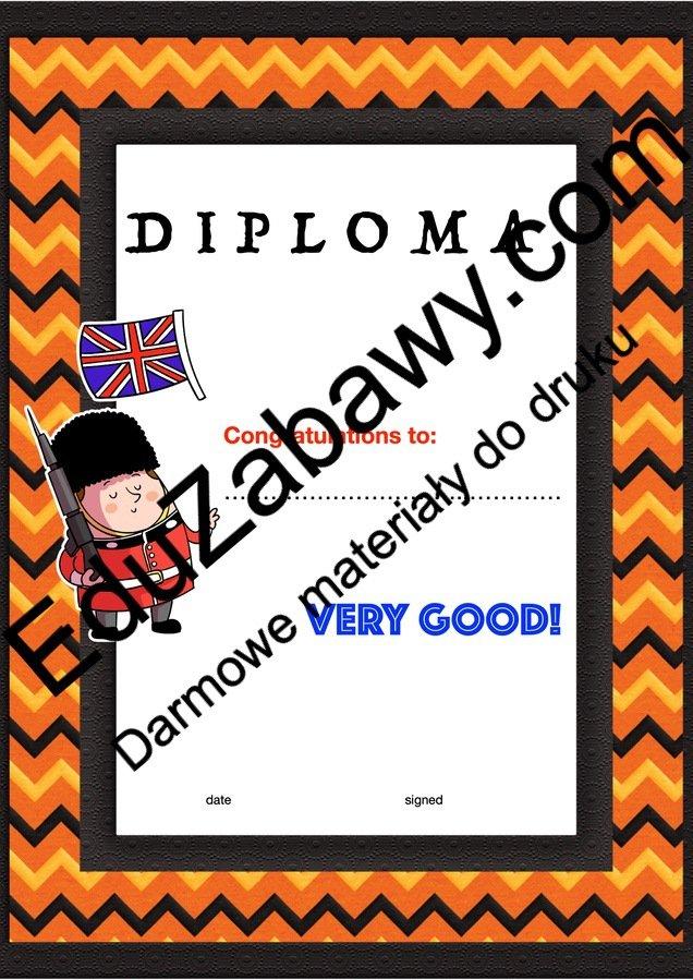 Dyplom za osiągnięcia z języka angielskiego Dyplomy Dyplomy (Zakończenie roku) Okolicznościowe Za osiągnięcia językowe