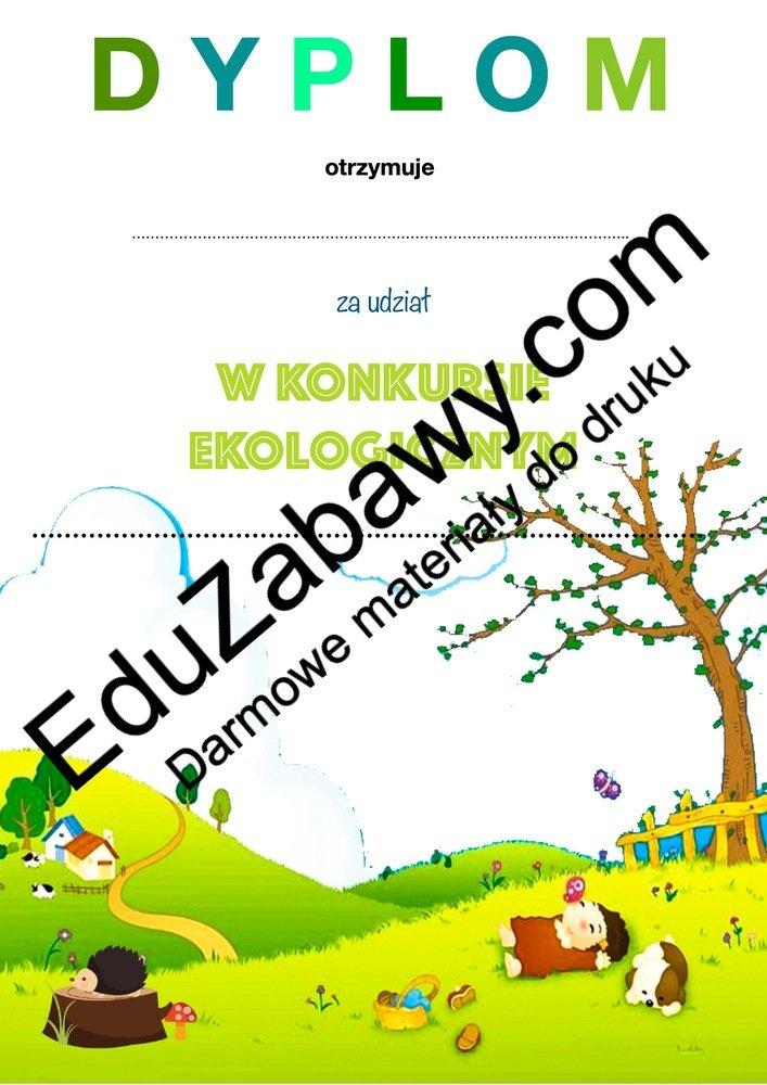 Dyplom za udział w konkursie ekologicznym Dyplomy Okolicznościowe Za konkursy