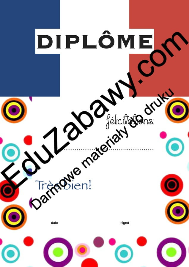 Dyplom za osiągnięcia z języka francuskiego Dyplomy Dyplomy (Zakończenie roku) Okolicznościowe Za osiągnięcia językowe