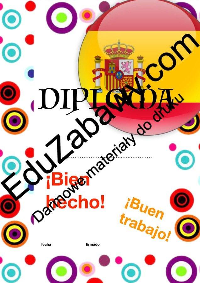 Dyplom za osiągnięcia z języka hiszpańskiego Dyplomy Dyplomy (Zakończenie roku) Okolicznościowe Za osiągnięcia językowe