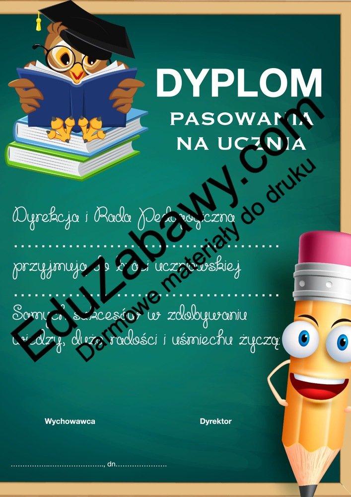 Dyplomy pasowania na ucznia (poziome) Dyplomy Dyplomy (Pasowanie na ucznia) Dyplomy pasowania na... Okolicznościowe Pasowanie na ucznia