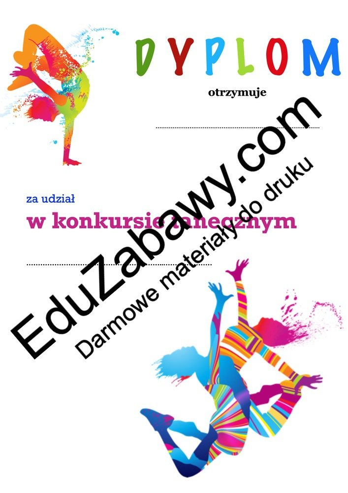 Dyplom za udział w konkursie tanecznym Dyplomy Okolicznościowe Za konkursy