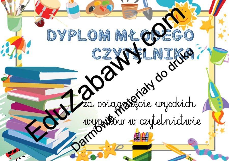 Dyplomy młodego czytelnika (poziome) Dyplomy Dyplomy (Zakończenie roku) Okolicznościowe