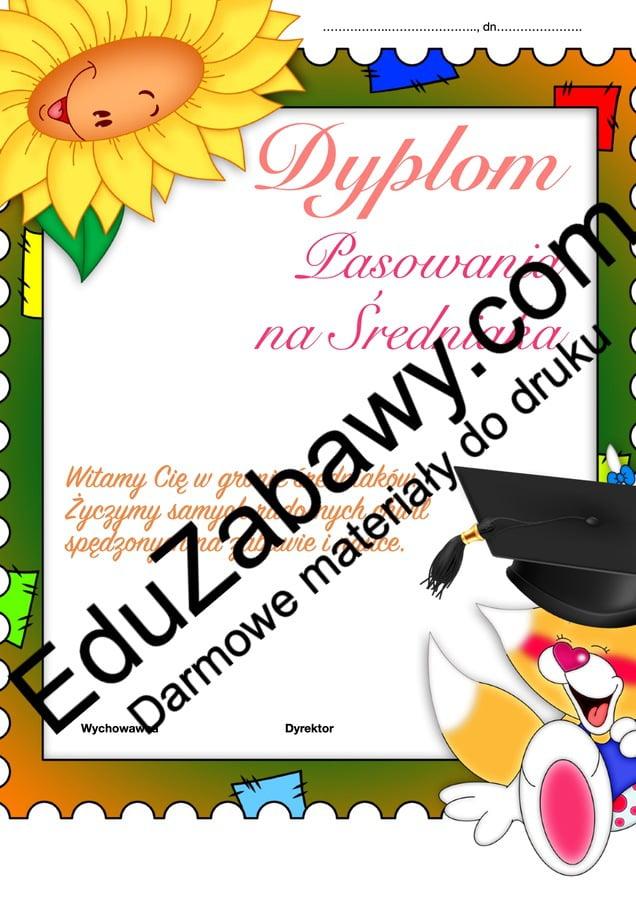 Dyplomy pasowania na średniaka (pionowe) Dyplomy Dyplomy pasowania na... Okolicznościowe