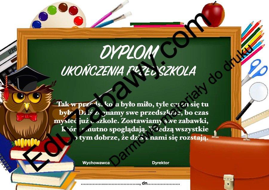 Dyplomy ukończenia przedszkola (poziome) Dyplomy Okolicznościowe