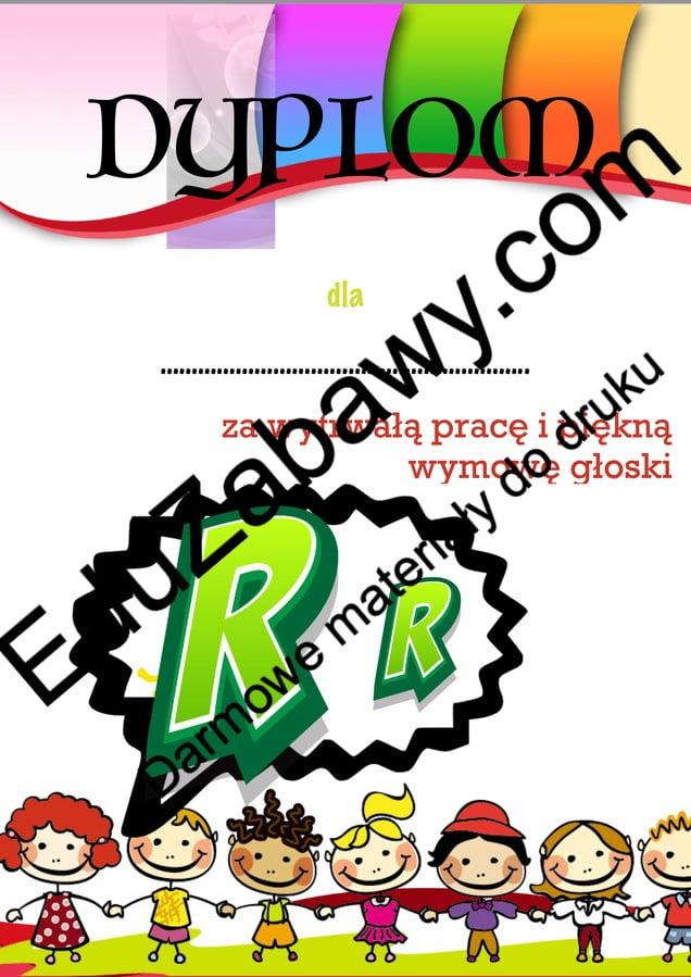 Dyplomy za wymowę głoski R Dyplomy Logopedyczne (Dyplomy) Okolicznościowe