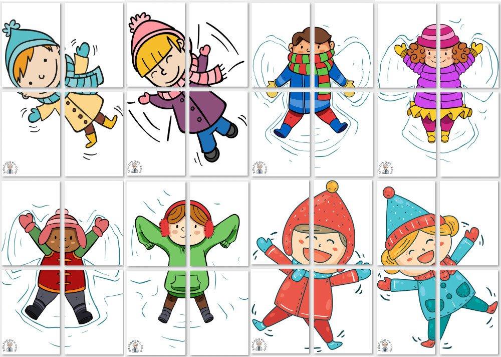 Dekoracje XXL: Dzieci robiące aniołki w śniegu Boże Narodzenie Dekoracje Dekoracje (Boże Narodzenie) Dekoracje (Zima) Zima