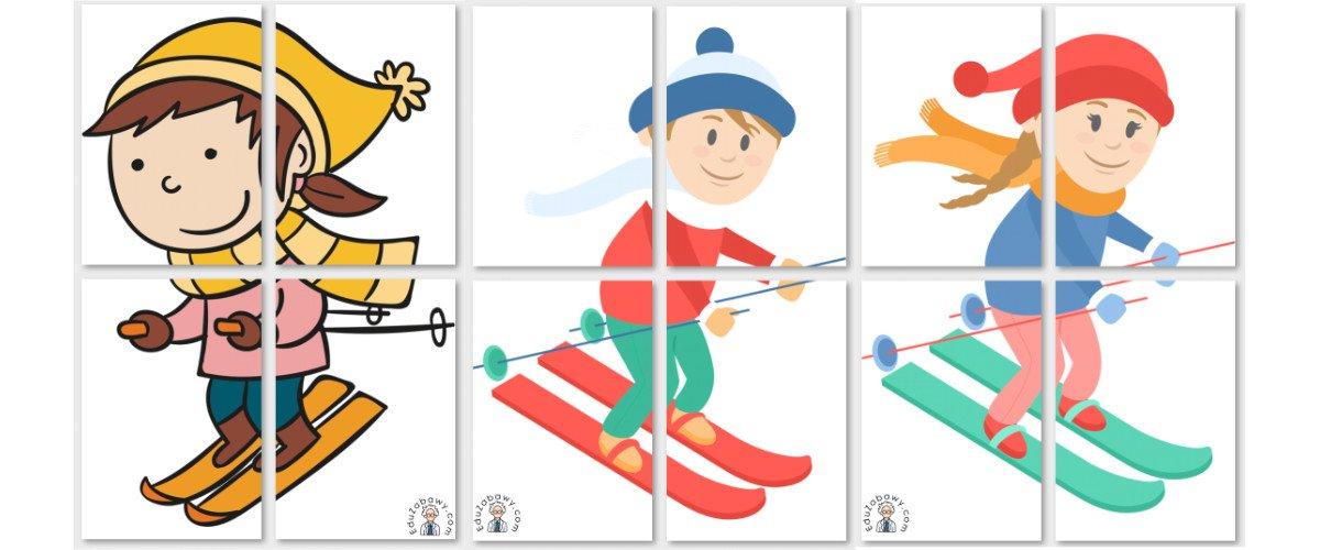 Dekoracje XXL: Dzieci na nartach