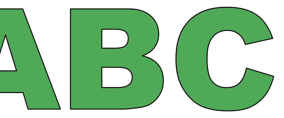 Zielone litery duże