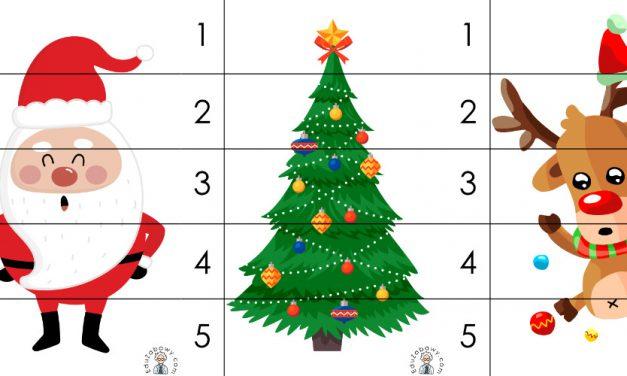Boże Narodzenie: Puzzle 5 elementów (10 szablonów)