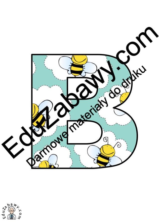 Pszczółki: Litery duże Litery i cyfry do tworzenia napisów Pory roku (Litery i cyfry do druku) Wiosna (Litery i cyfry)