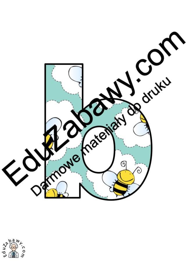 Pszczółki: Litery małe Litery i cyfry do tworzenia napisów Pory roku (Litery i cyfry do druku) Wiosna (Litery i cyfry)