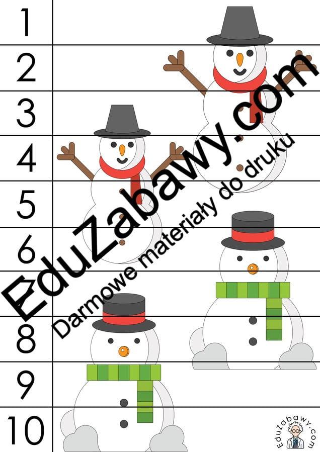Zima: Puzzle 10 elementów (10 kart pracy) Karty pracy Karty pracy (Zima) Puzzle Zima