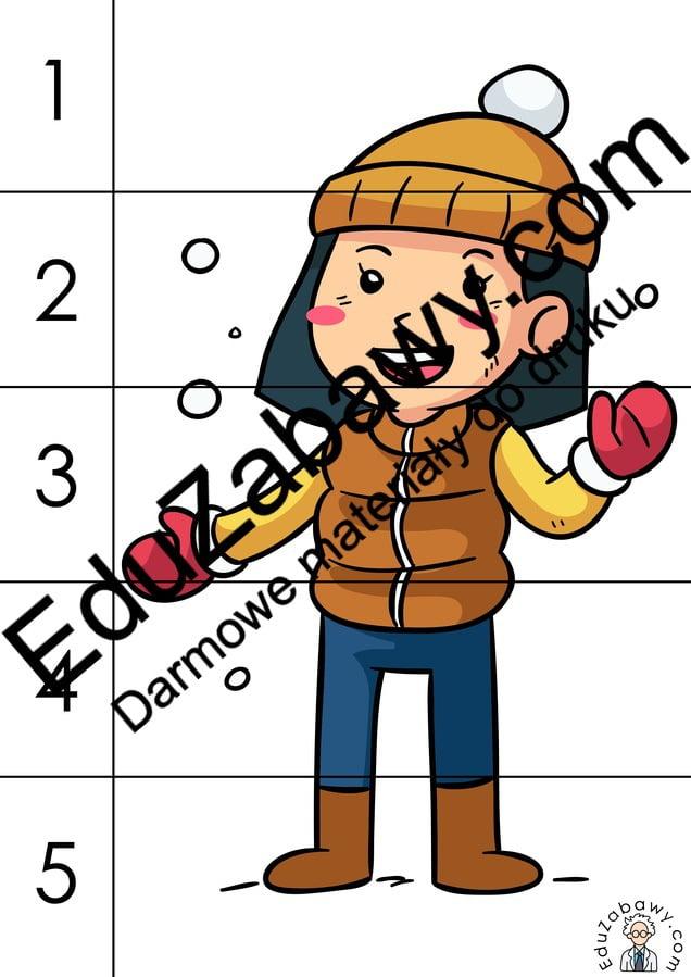 Zima: Puzzle 5 elementów (10 kart pracy) Karty pracy Karty pracy (Zima) Puzzle Zima