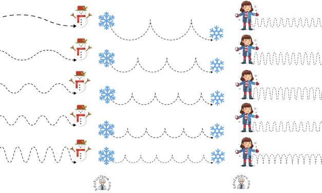 Zima: Szlaczki (10 kart pracy)