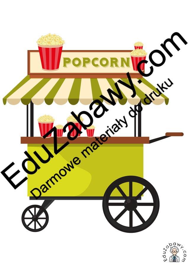 Dekoracje: Maszyna do popcornu (8 szablonów) Dekoracje Dzień Popcornu